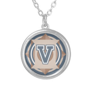 "Initiale des dekorativen Buchstabe-""V"" Versilberte Kette"