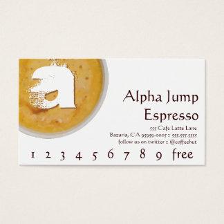 Initiale in der schäumenden Tasse Visitenkarten