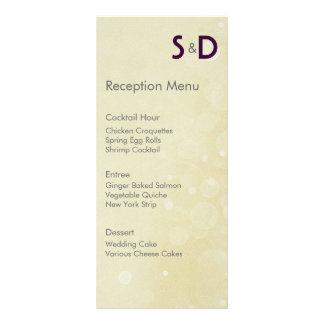 Initialen, die Empfangs-Menü Wedding sind Individuelle Werbe Karte