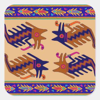 Inka-Stammes- Schlange Quadratischer Aufkleber