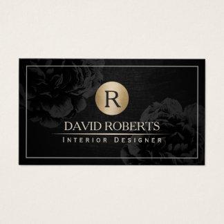 Innenarchitektur-Goldmonogramm-Vintages schwarzes Visitenkarten