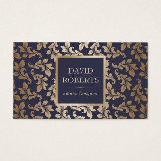 Innenarchitektur-Luxusblau u. Golddamast modern Visitenkarten