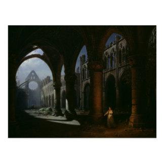 Innenraum einer Abtei in den Ruinen, 1848 Postkarte