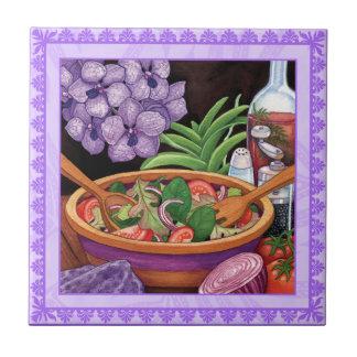 Insel-Café - tropischer Salat Kleine Quadratische Fliese