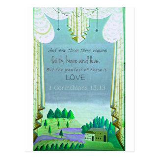 Inspirational Bibel-Vers über Liebe. 1 Korinther Postkarte