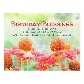 Inspirational Geburtstags-Psalm-118:24 Blumen Postkarte
