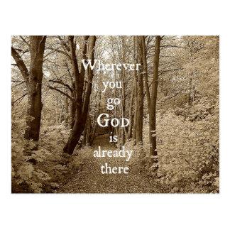 Inspirational Gott ist bereits dort christliches Postkarte