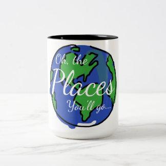 Inspirational Tasse, Reise, Welt Zweifarbige Tasse