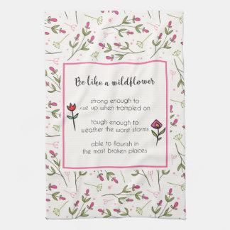 Inspirational Zitat mit Wildblume-Muster Geschirrtuch