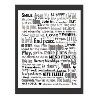 Inspirieren Sie Wortkunstcollage Postkarten