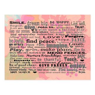 Inspirieren von Wortpostkartenkunst Postkarte