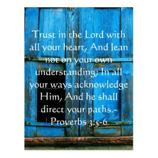 Inspirierend Bibel-Zitat-Sprichwort-3:5 - 6 Postkarte