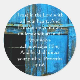Inspirierend Bibel-Zitat-Sprichwort-3:5 - 6 Runder Aufkleber