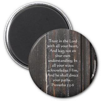 Inspirierend Bibel-Zitat-Sprichwort-3:5 - 6 Runder Magnet 5,1 Cm