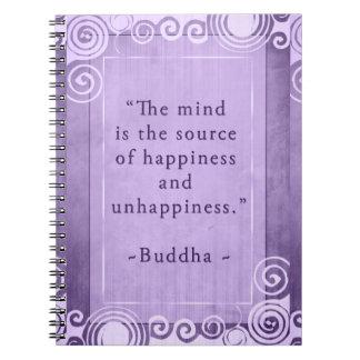 Inspirierend Buddha-Glück-Zitat Notizblock