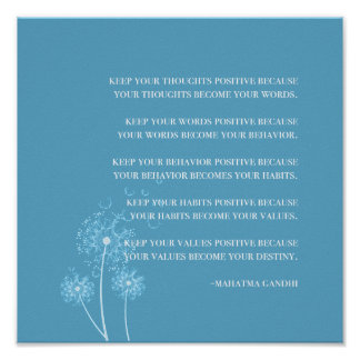 Inspirierend | Gandhi Zitat-positives Denken Poster