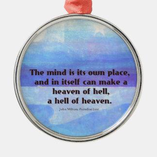 Inspirierend Milton-Zitat Paradies verloren Rundes Silberfarbenes Ornament