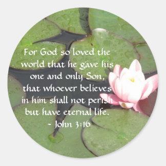 Inspirierend Zitat John-3:16 Schrift Runder Aufkleber
