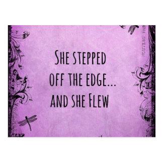 Inspirierend Zitat: Sie trat weg vom Rand und Postkarte