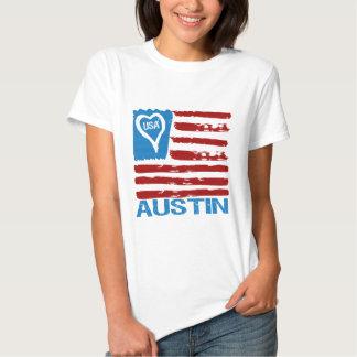 Inspiriertes T-Stück Flagge USA-LIEBE-AUSTIN-Farbe Tshirts