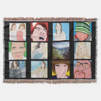 Instagram Mosaik-Schwarz-kundengerechte Decke
