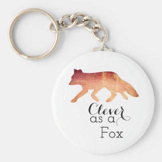 Intelligent comme aquarelle typographique de Fox Porte-clé Rond