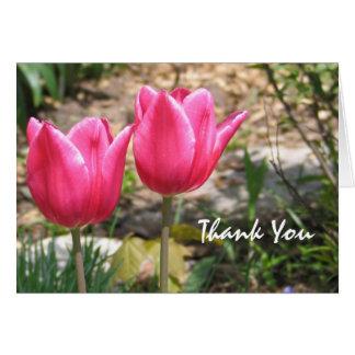 Intensive rosa Tulpen danken Ihnen Karte