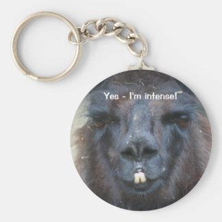 Intensives schwarzes Lama lustiges TierKeychain Schlüsselband