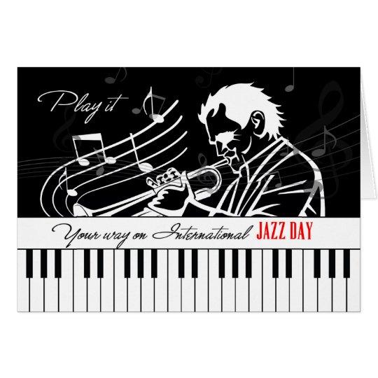 Internationale Jazz-Tagesklavier-Schlüssel und Grußkarte