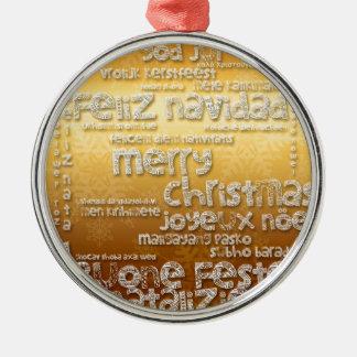 Internationale Verzierung WeihnachtenNavidad Rundes Silberfarbenes Ornament