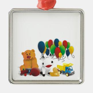 Internationaler Kindertag Quadratisches Silberfarbenes Ornament