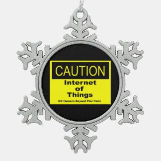 Internet des Sachen IoT Vorsicht-Warnzeichens Schneeflocken Zinn-Ornament