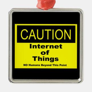 Internet des Sachen IoT Vorsicht-Warnzeichens Silbernes Ornament