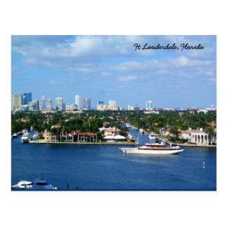 Intracoastal Wasserstraße u. Skyline Ft Lauderdale Postkarte