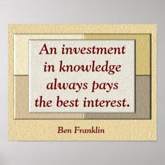 Investition im Wissen - Zitatdruck Plakatdruck