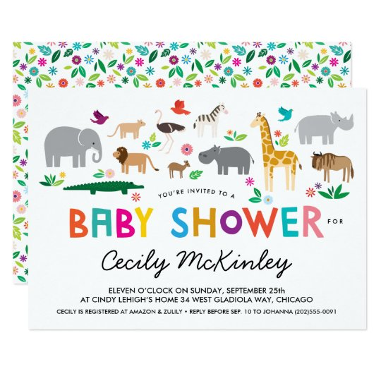 Invitation africaine de baby shower d'animaux