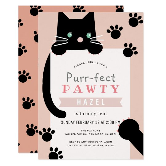 8 x Purrfect Party Invitations Anniversaire Chat Chaton Rose Invitations Avec Enveloppes