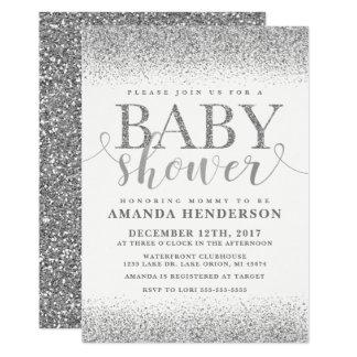 Invitation argentée de baby shower de parties