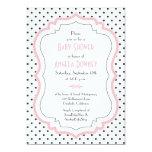 Invitation blanche noire rose de baby shower de carton d'invitation  12,7 cm x 17,78 cm