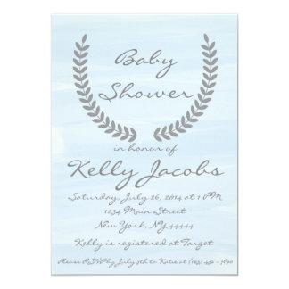 Invitation bleue de baby shower d'aquarelle