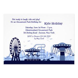 Invitation bleue de parc d attractions