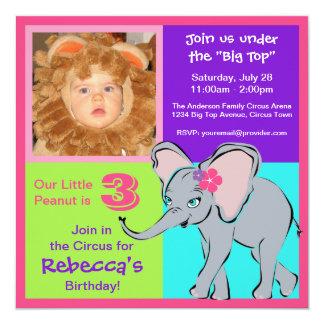 Invitation colorée de photo d'éléphant de petite