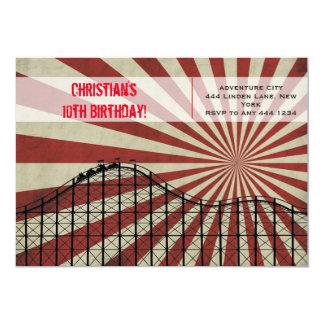 Invitation d'anniversaire de montagnes russes de carton d'invitation  12,7 cm x 17,78 cm
