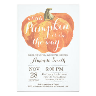 Invitation de baby shower d'automne de citrouille