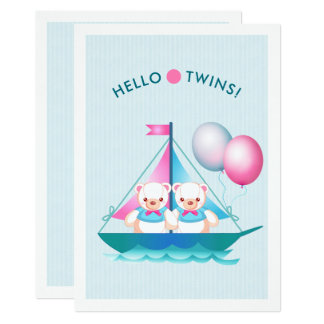 Invitation de baby shower de garçons de jumeau de