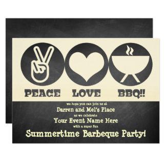 Invitation de barbecue d'amour de paix