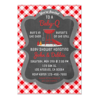 Invitation de barbecue de baby shower - partie de