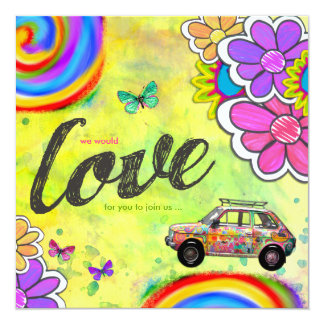 Invitation de colorant de cravate de hippie de carton d'invitation  13,33 cm