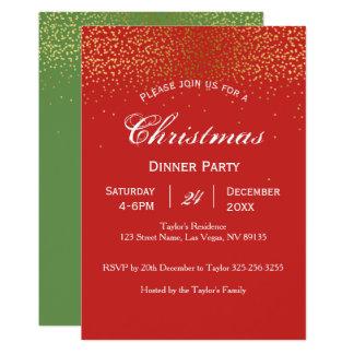 Invitation de dîner de Noël d'or