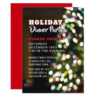 Invitation de dîner de vacances d'arbre de Noël